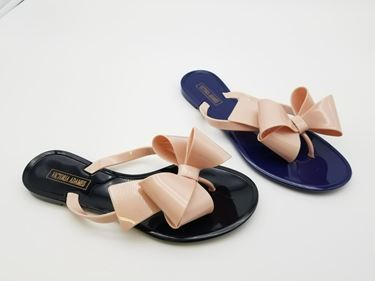 Black and pink bow sandals left, blue pink bow sandals right